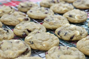 Cranberry White Chocolate Chip Cookies Resting